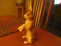 9 1/4 Antique Papier Mache Rabbit Candy Container Marked Germany
