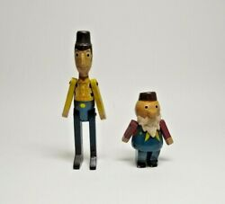 Vintage Rare Toy Story Wooden Dolls Young Epoch Woody And Prospector