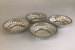 """Antique - Set Of 4 Nut Dishes, Round, Gadroon - Majestic - Sterling - 2 3/4"""""""