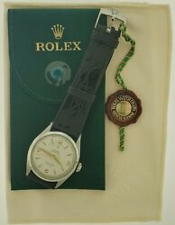 ⌚ Rolex 34mm Watch 6084 Factory Dial And Rolex Leather Band Stainless Vintage Auto