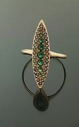 Antique Green Garnet + Micro Pearls Rose Gold Marquise Style Ring