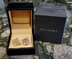 Bvlgari Cuff Links 18k Yellow Gold With Mother Of Pearl Stone Genuine W/box