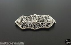 Antique Diamond Filigree Brooch Pin 10k White Gold Vintage