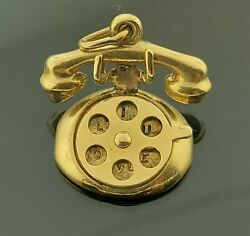 ☎️ Movable Rotary Telephone Phone Dial Reveals I Love Charm Pendant 14k Gold