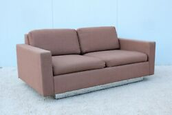 Mid-century Modernism Vintage Milo Baughman Style Brown Fabric Two Seat Settee