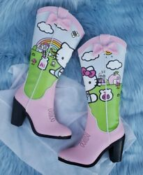 Dolls Kill X Hello Kitty And Friends Cowboy Boots Size 7 Pink And Pretty