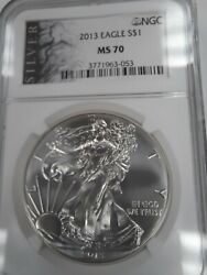 2013 Ms70 Perfect American Silver Eagle See Pictures, Ngc, Free Shipping