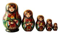 Mini Russian Nesting Dolls Stacking Emboîtables With Of Birds Painted At Hand/ 5