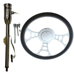 32 Manual Steering Column And Adapter And Keyand 14 9-hole Wheel And Flame Horn Button