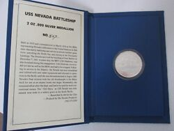 Rare 1991 U.s.s. Nevada 2 Troy Ounce .999 Silver Medallion In Hardcover Display