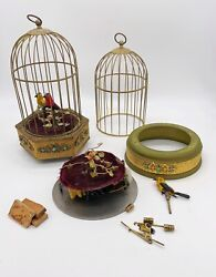 2 Vintage German Singing Bird Cage Music Boxes Clockwork Automations For Parts