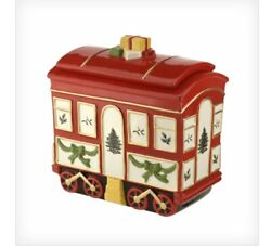 New In Box Unopened Spode Christmas Tree Train Car With Lid Cookie Jar Msrp 160