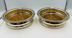 Smith Tate And Co Antique English Georgian Sterling Silver 2 Wine Bottle Coasters