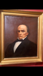 Rare Antique Oil On Canvas Of Daniel Webster By William Sharp
