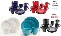 Blue White Red Turquoise Dinnerware Set 16-32 Pcs Service For 4-8 Plates Bowls