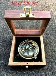 Nautical Antique Sundial Push Button Compass Marine With Woodenglass Box Gift