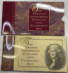 1993 Us Mint Thomas Jefferson Coinage And Currency Set W/90silver Dollar