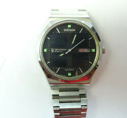Citizen Crystron 8620a Solarcell 1976 Watch And Orig Band Runs With Reg Battery