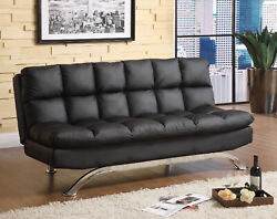 1pc Futon Sofa Upholstered Black Leatherette Seat Living Room Couch Converts Bed