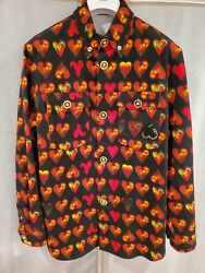 Versace Heart Print Denim Shirt With Crystal And Logo Button