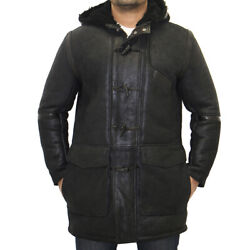 Luxurious Mens Black Buff Leather And Sheepskin Hooded Winter Duffle Coat