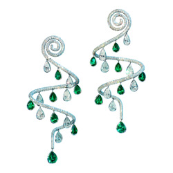 Beautiful Bezel Set Emerald And Cz Drops With Micro Pave Set White Cz Rare Earring