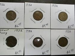 Lot 6 1932 P United States Lincoln Wheat Pennies Penny 1 Cent Coin
