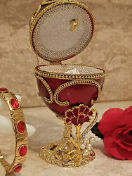 Unique Mother Trinket Wife Faberge Musical Jewelry Box And Ruby Bracelet 24k Gold