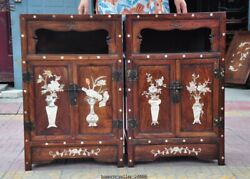 China Huanghuali Wood Inlay Shell Flower Lock Storage Cupboard Cabinet Furniture