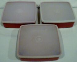 3 Vintage Tupperware Square A Way Sandwich Container Keeper Paprika 1458