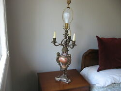 Pair Of Antique 33 French Victorian Marble And Bronze Table Lamps With Cherubs