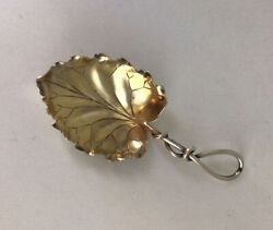 Antique Leaf Tea Caddy Spoon With Gold Wash Shreve Crump And Low Sterling 4 1/8andrdquo