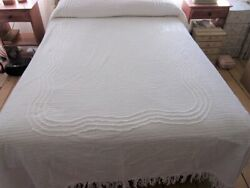 Vtg Twin White Chenille Bedspread 72 X 99 Cutter As Is Retro Projects