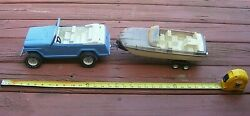 Vintage 3 Pc Set - Blue Tonka Toy Jeep Jeepster W/ Sparkle Boat And Trailer Nice
