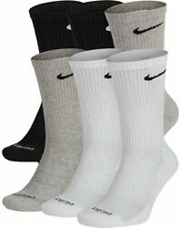 Nike Menand039s Everyday Plus Cushioned Crew Socks 6 Pack Multcolor Sx6897-922 Xl