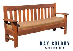 20th C Antique Arts And Crafts / Mission Oak Bench 6.5 Feet Wide
