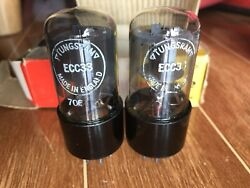 Tungsram Ecc33/6sn7 Made In England Near Mint Nos Testing Tightly Matched Pair