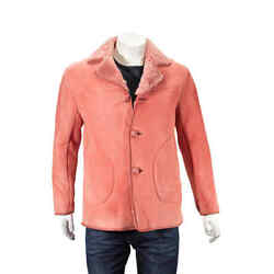 Leather Trim Shearling Jacket In Copper Pink Brand Size 48 Us Size