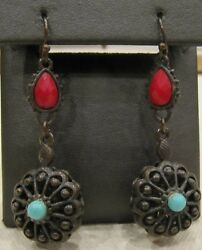 Steampunk Flower Earrings Dangle Gothic 3d Antiqued Brass Tone Blue Red Bead 2