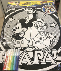 New Mickey Mouse Pluto And Donald Velvet Art Coloring Posters With Markers Bnip