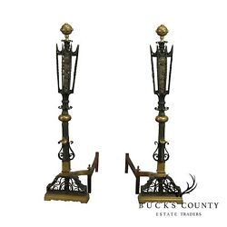 Hand Forged Iron And Brass Antique Tall - Andirons