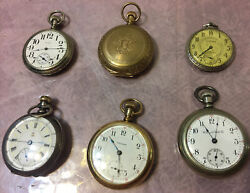 1900and039s Railroad Era Pocket Watches Collection Lot Of 6 Waltham Hampden Washetc