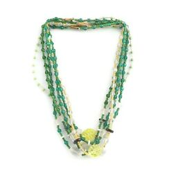 Lot 6 Vintage Czech Necklaces Green Clear White Frost Uranium Glass Beads