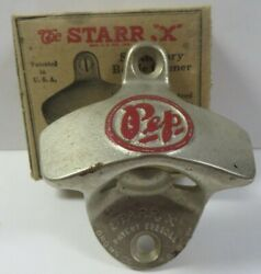 Vintage 1940and039s Pep Soda Starr X Wall Mounted Bottle Opener Original Box W Screws