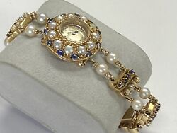 14k Yellow Gold Lucien Picard Vintage Sapphire And Pearls Ladies Watch