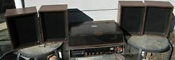Jc Penny 1802c Vintage Am/fm Stereo System 8 Track Record Turntable W/4 Speakers