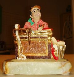 Vintage 1987 Bookkeeper/office Worker Statue Figurine On Marble Signed Rare