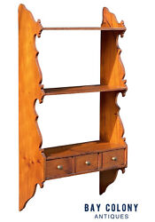 18th C Antique Queen Anne Pumpkin Pine Country Primitive Wall Shelf / Cabinet