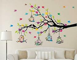 PVC Vinyl Tree And Flowers Wall Sticker 49.99 x 0.39 x 31.49 inches Multicolou