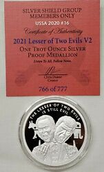 1oz 2021 Silver Shield Proof Lesser Of Two Evils V2 Coin 16 Ussa 2020 Series